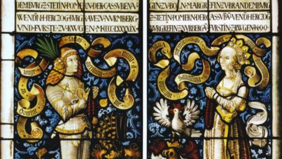 Glasmalereien mit Friedrich II.  (Brandenburg-Ansbach-Kulmbach) und Sofia Jagiellonica
