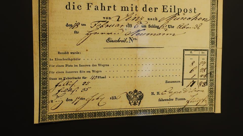 Fahrkarte für die Bahn von Linz nach München,  die Neumann im Februar 1836 gelöst hat  (Foto: Martina Schneibergová)